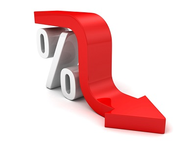 Red arrow over a percentage rate